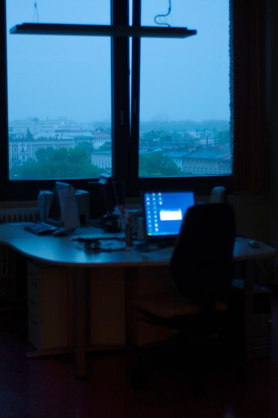 Ein leeres Büro im Vivantes-Klinikum am Urban in Berlin Kreuzberg.