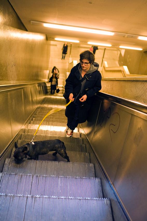 Ein Tag mit Michi und Janni, 7.05.2010, Berlin - Michi (30) ist mit Wilma auf dem Heimweg, Ubahnstation Turmstrasse in Moabit.