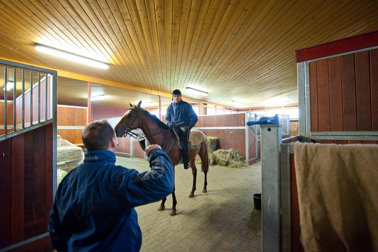 [Warendorf (07.05.2010)], Letzte Anweisungen bevor es raus geht: Trainer Torsten Mundry instruiert jeden der Berufsreiter, fur die jeweilige Traingseinheit mit dem Pferd.