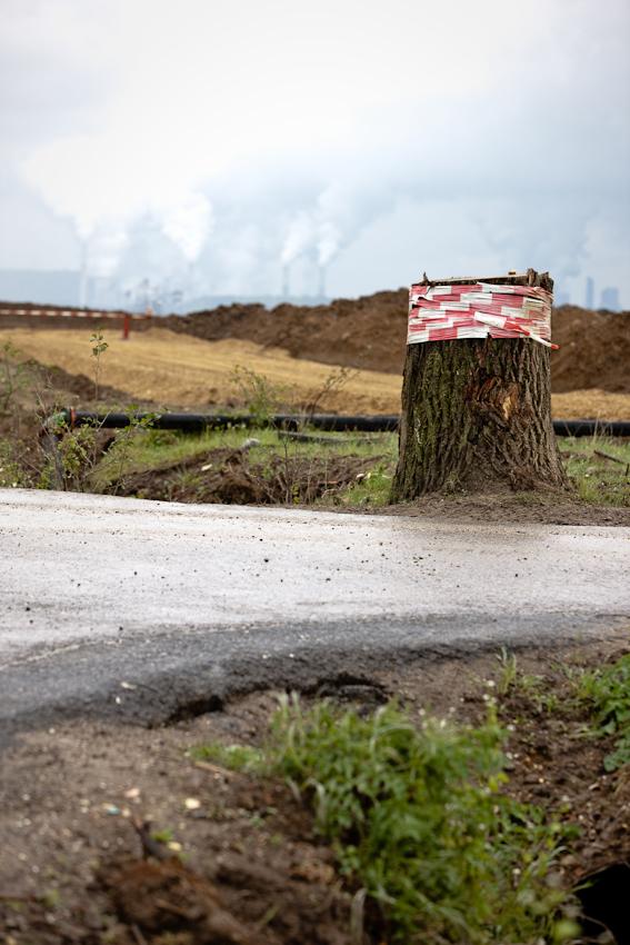 Das Gebiet von Garzweiler II kurz vor der Ortschaft Pesch. In einem Jahr wird hier Braunkohle abgebaut. Im HIntergrund die Kraftwerke der RWE in Niederaußem und Neurath.